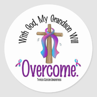 Thyroid Cancer With God My Grandson Will Overcome Classic Round Sticker