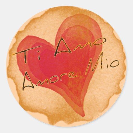 Ti Amo Amore Mio Round Sticker