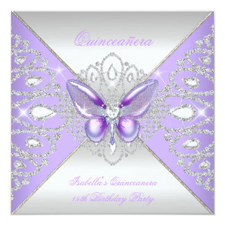 Tiara Butterfly Quinceanera 15th Party Purple 13 Cm X 13 Cm Square Invitation Card