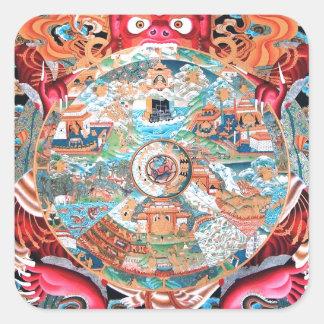 Tibetan Buddhist Art (Wheel of Life) Square Sticker