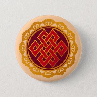Tibetan Karma Buddhism Eternal Knot 6 Cm Round Badge