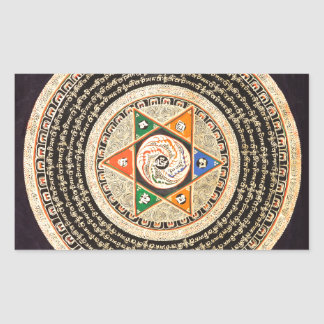 Tibetan Mandala Art (Gold & Black) Rectangular Sticker