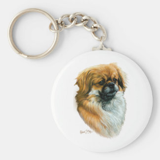 Tibetan Spaniel Basic Round Button Key Ring