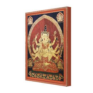 Tibetan Thangka of Guhyasamaja Akshobhyavajra Canvas Print