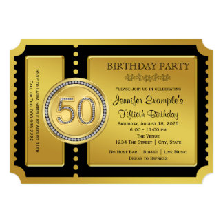 Ticket 50th Birthday Party Card