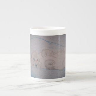 Tickled Cat Porcelain Mugs