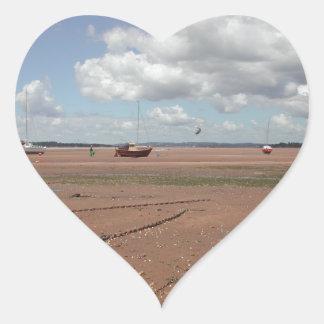 Tidal Moorings. Beached Boats. Devon UK. Heart Sticker