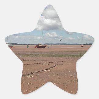 Tidal Moorings. Beached Boats. Devon UK. Star Sticker