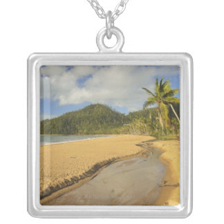 Tidal river at Mission Beach Silver Plated Necklace