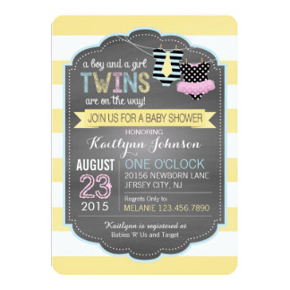 Tie and Tutu Twins Baby Shower Card