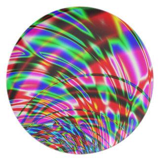 Tie Dye Retro Wave Fractal Dinner Plate