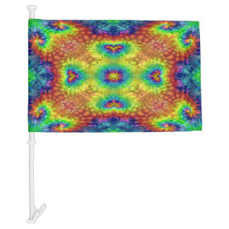 Tie Dye Sky Colorful Car Flag