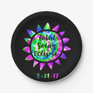 Tie Dye Total Solar Eclipse Paper Party Plate 7 Inch Paper Plate