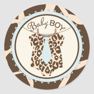 Tie Jumper Animal Print Baby Shower Label Round Sticker