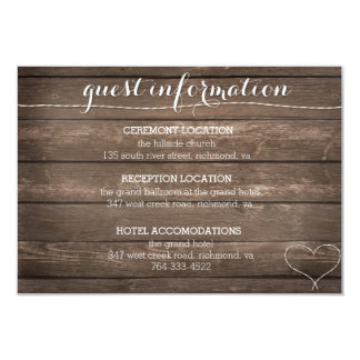 Tie the Knot Rustic Wood Wedding Information Card