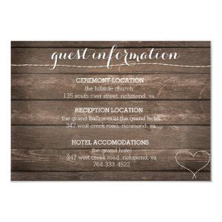 Tie the Knot Rustic Wood Wedding Information Card 9 Cm X 13 Cm Invitation Card
