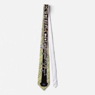 Tied Oboe on Medieval Music Manuscript Tie