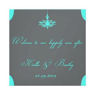 Tiffany Blue & Gray Personalized Canvas - Wedding Canvas Print