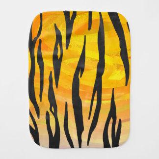 Tiger Black and Orange Print Burp Cloths
