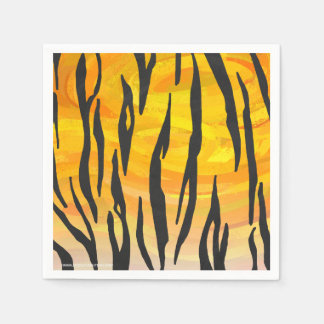 Tiger Black and Orange Print Disposable Napkins