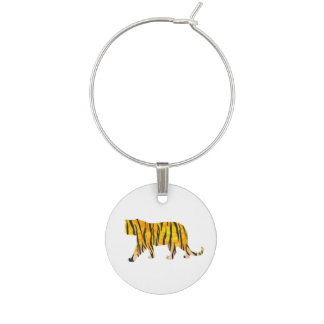 Tiger Black and Orange Print Wine Charm