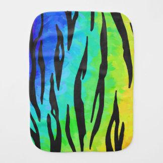 Tiger Black and Rainbow Print Baby Burp Cloth