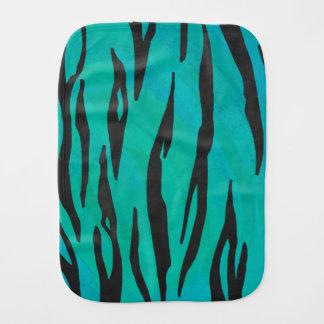 Tiger Black and Teal Print Baby Burp Cloths