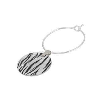Tiger Black and White Print Wine Charm