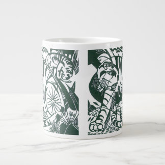 Tiger by Franz Marc, Black and White Fine Art Large Coffee Mug