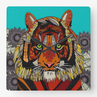 tiger chief turquoise square wall clock