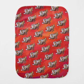 Tiger Christmas on Red Burp Cloths