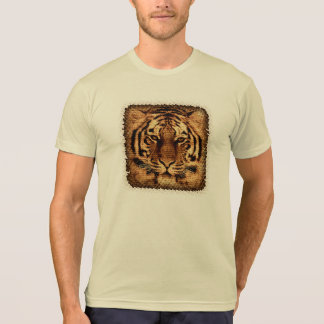 Tiger Fine Art on Burlap Rustic Jute T-Shirt