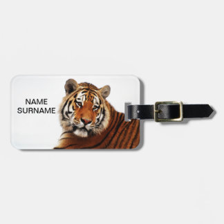 Tiger glance sideways photo luggage tag