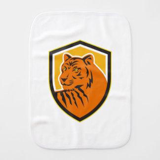 Tiger Head Front Crest Retro Baby Burp Cloths