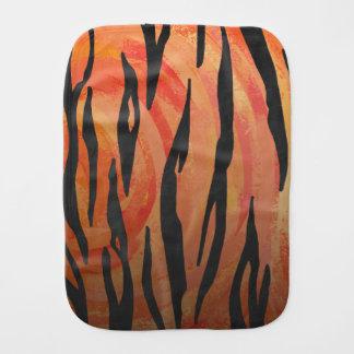 Tiger Hot orange and Black Print Burp Cloths