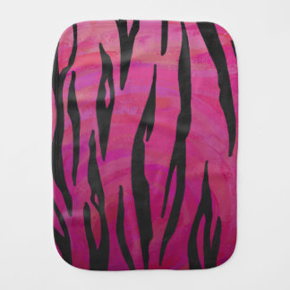 Tiger Hot Pink and Black Print Burp Cloth