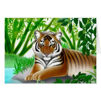Tiger in Bamboo Jungle Greeting Card