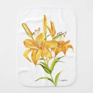 Tiger lily burp cloth