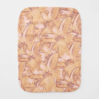 Tiger Lily Sketch Baby Burp Cloths