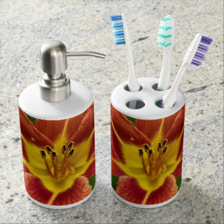 Tiger Lily Soap Dispenser And Toothbrush Holder