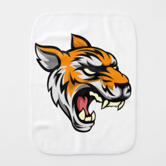 Tiger Mean Animal Mascot Burp Cloths