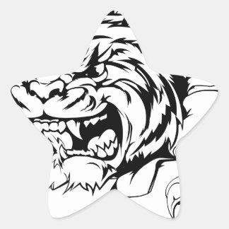 Tiger ripping through background star sticker