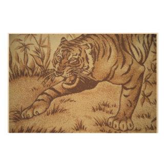 Tiger Roaming in Safari Wood Print