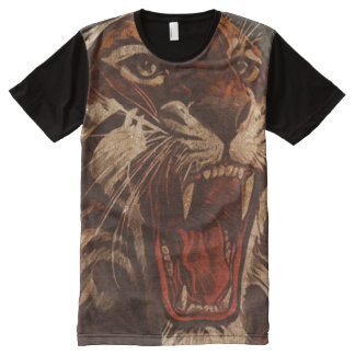 Tiger Roar Vintage Look All-Over Print T-Shirt