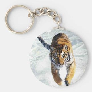Tiger running in snow basic round button key ring