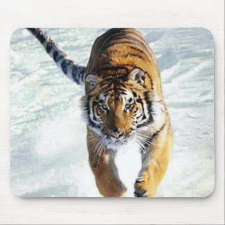 Tiger running in snow mouse pad