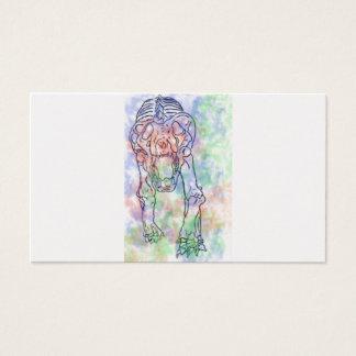Tiger skeleton watercolour rainbow business card