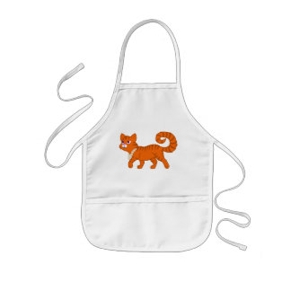 Tiger Stripe Orange Cat with Pearl Necklace Kids Apron