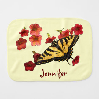 Tiger Swallowtail Butterfly on Red Flowers Baby Burp Cloth