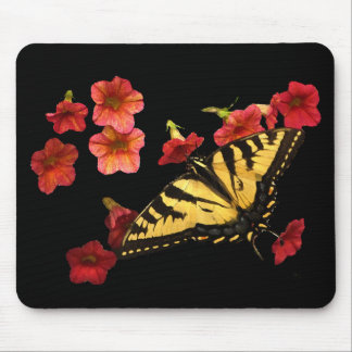 Tiger Swallowtail Butterfly on Red Flowers Mouse Pad